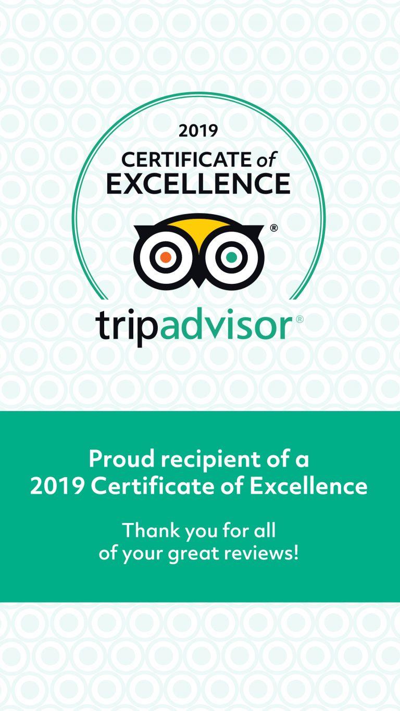 Tripadvisor Certificate of excellence 2019 B&B